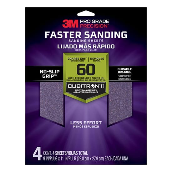 Pro Grade Precision 9 in. x 11 in. 60 Grit Coarse Advanced Sanding Sheets (4-Pack)
