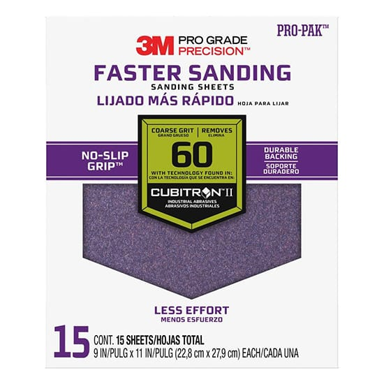 Pro Grade Precision 9 in. x 11 in. 60 Grit Coarse Advanced Sanding Sheets (15-Pack)