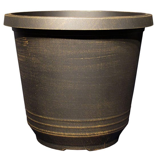 Torino 14 in. Black Bronze Plastic Round Planter