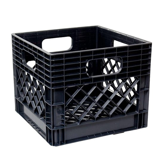 GSC Technologies 11 in. x 13 in. x 13 in. Black Milk Crate