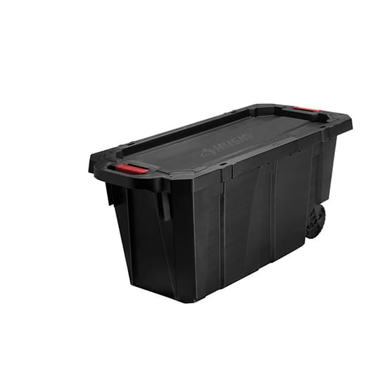 Husky 45 Gal. Latch and Stack Tote with Wheels in Black