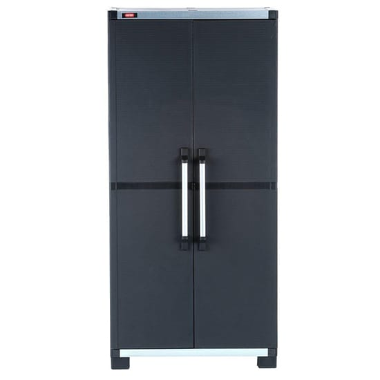Keter 74 in. H x 34.65 in. W x 17.7 in. D Wide XL Freestanding Plastic Utility Cabinet in Black
