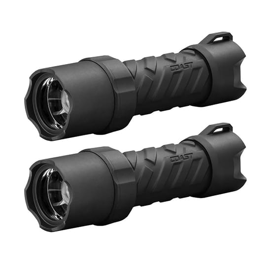 Coast Polysteel 400 Heavy Duty 440 Lumens Waterproof LED Flashlight, 2-Pack