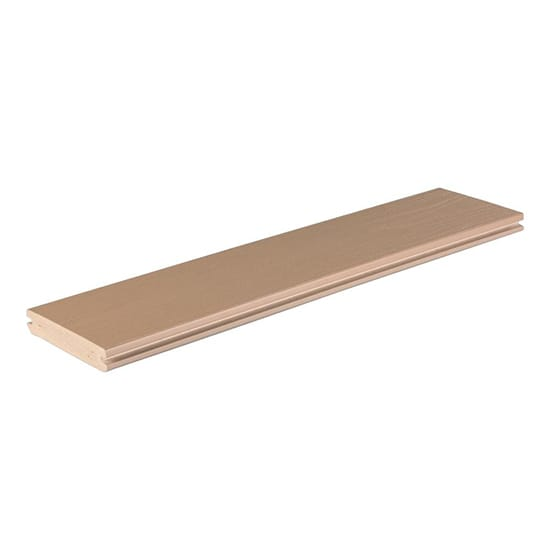 TimberTech Azek Harvest Collection 1 in. x 5-1/2 in. x 20 ft. Brownstone Grooved Capped Polymer Decking Board