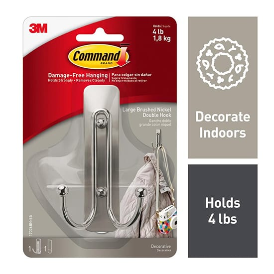 Command Brushed Nickel Large Double Hook (1-Hook and 1-Adhesive Strip)