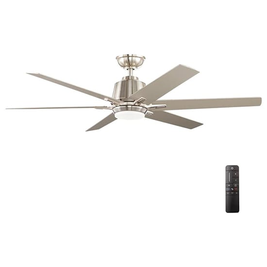 Home Decorators Collection Kensgrove 54 in. Integrated LED Indoor Brushed Nickel Ceiling Fan with Light Kit and Remote Control