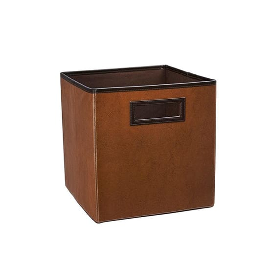 ClosetMaid 10.5 in. x 11 in. x 10.5 in. Cinnamon Brown Faux Leather Storage Drawer