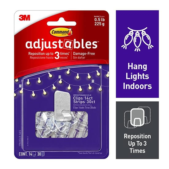 3M Command Adjustables 1/2 lb. Clear Repositionable Clips (14 Clips with 30 Adhesive Strips)