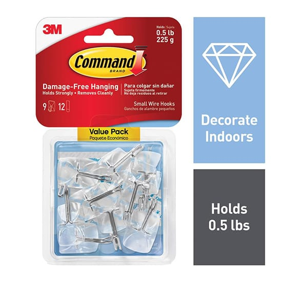 Command Small Clear Wire Hooks with Clear Strips (9-Pack)