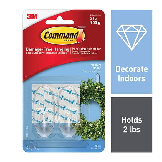 Command Medium Clear Hooks with Clear Strips (2-Pack)