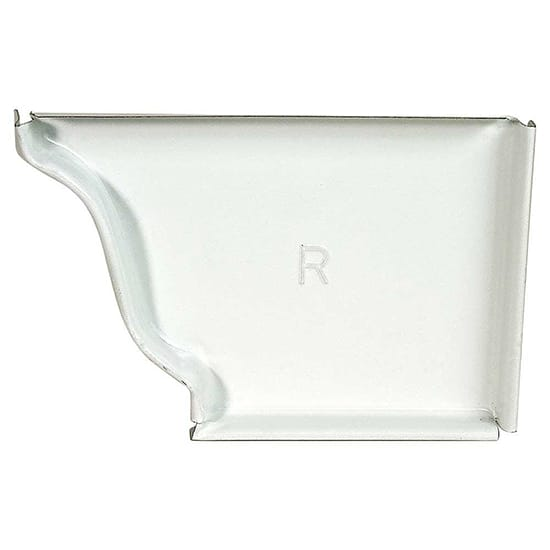 5 in. White Aluminum K-Style Gutter Right End Cap