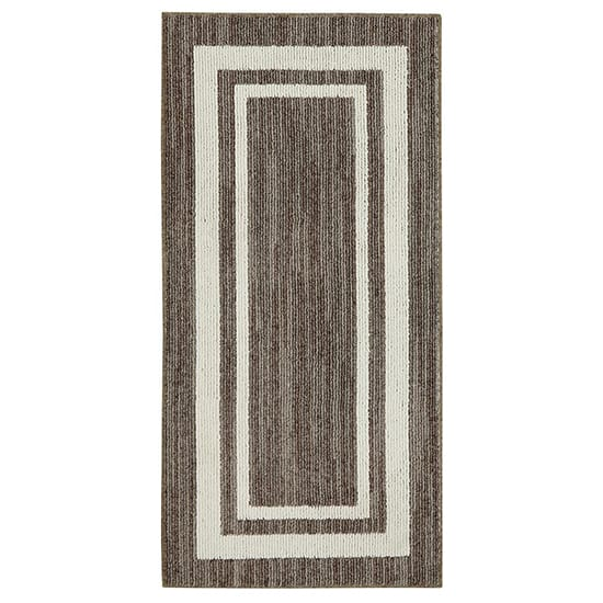Mohawk Home Border Loop Dark Khaki Spice Cream 2 ft. x 3 ft. Area Rug