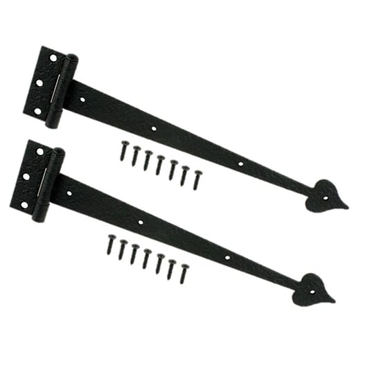 Everbilt 13 in. Black Decorative Tee Hinges (2-Pack)