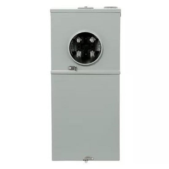GE 200 Amp 8 Space 16 Circuit Outdoor Combination Main Breaker Ringless Meter Socket Load Center