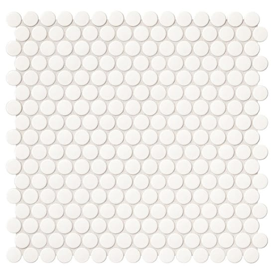 Daltile Finesse Glossy White 12 in. x 13 in. x 6.35 mm Porcelain Mosaic Wall Tile (1.06 sq. ft. / piece)