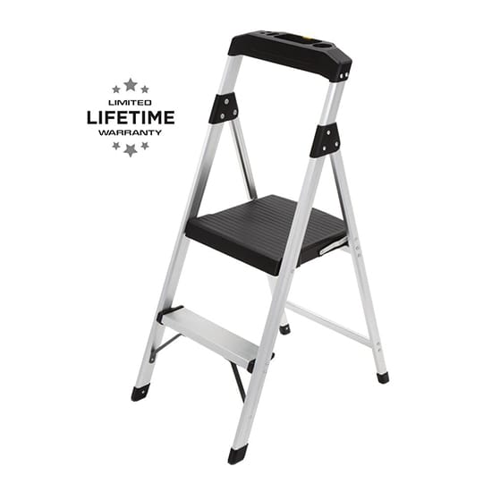 2-Step Aluminum Step Stool Ladder with 225 lbs. Type II Duty Rating