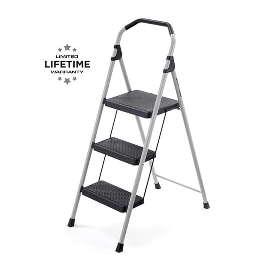 3-Step Lightweight Steel Step Stool Ladder with 225 lbs. Load Capacity Type II Duty Rating