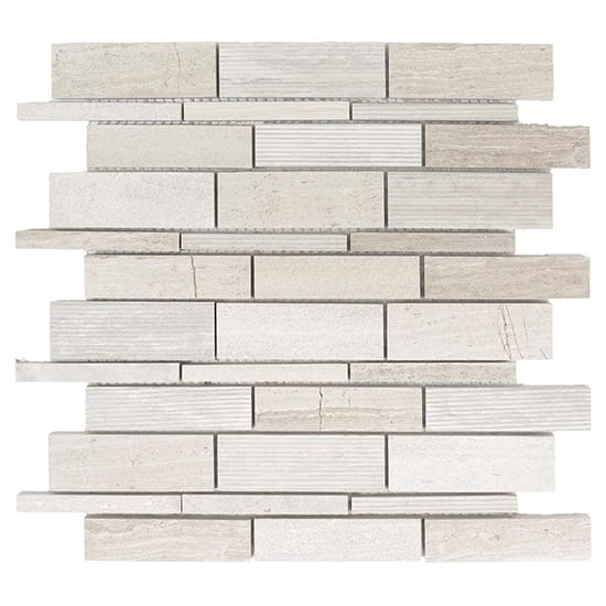 Jeffrey Court Tranquil Stone 10.75 in. x 12.875 in. x 9.5 mm Limestone Mosaic Wall Tile