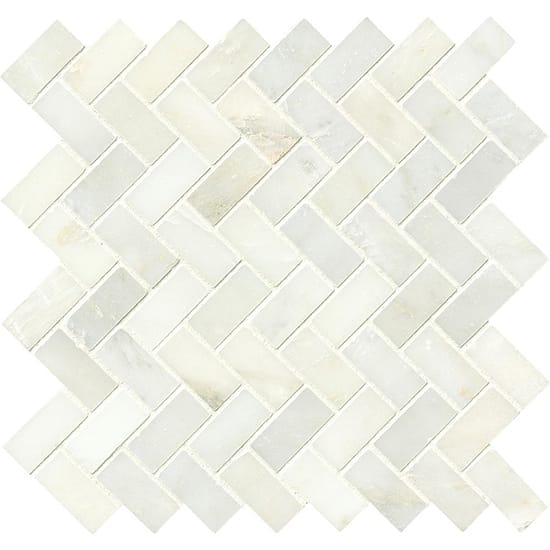 MSI Greecian White Herringbone Pattern 12 in. x 12 in. x 10 mm Polished Marble Mesh-Mounted Mosaic Tile