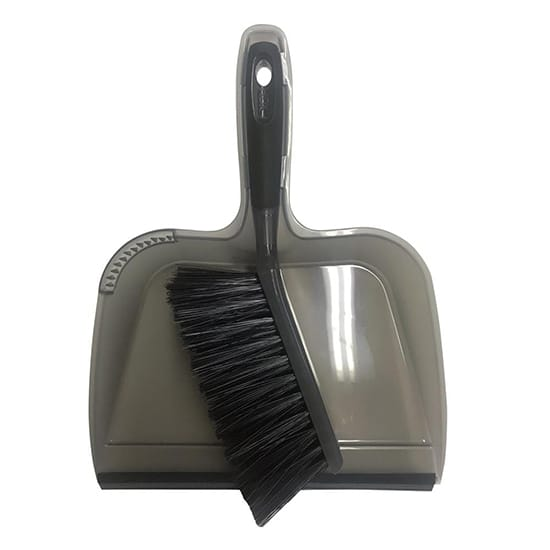 HDX 10 in. Dustpan with Rubber Lip and Brush