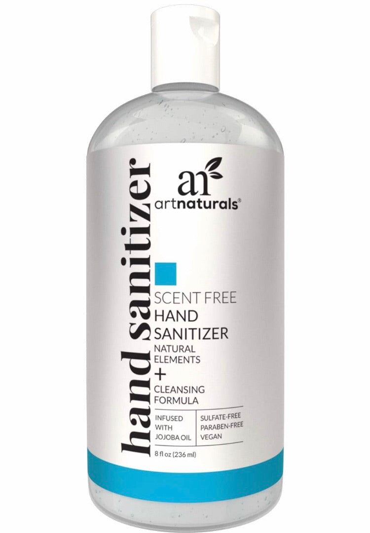 Hand Sanitizer Gel Artnaturals Alcohol Based (8 Fl Oz ) Infused with Alovera Gel, Jojoba Oil & Vitamin E - Unscented Fragrance Free Sanitizer