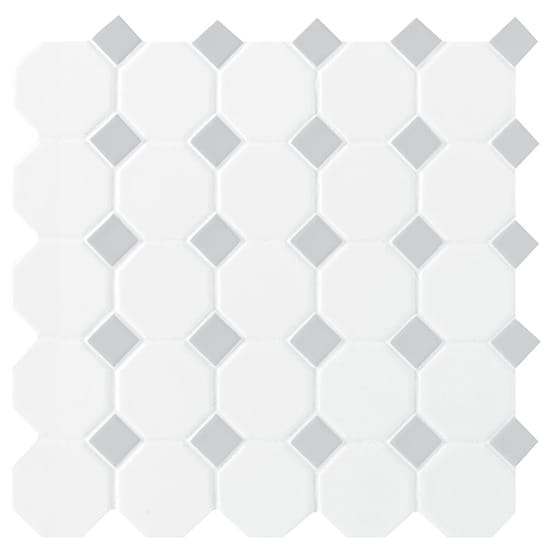 Daltile Prologue Matte White 12 in. x 12 in. x 6 mm Glazed Ceramic Octagon/Dot Mosaic Floor and Wall Tile (1 sq. ft./ piece)