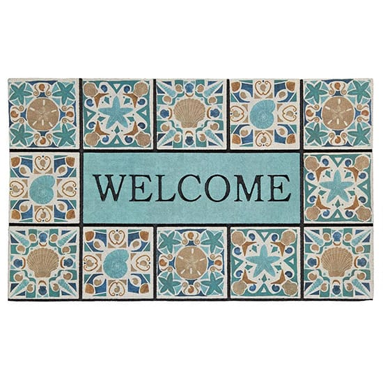 Mohawk Home Welcome in Tiles Undersea Tiles 18 in. x 30 in. Recycled Rubber Door Mat