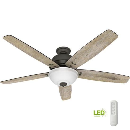 Hunter Reveille 60 in. LED Indoor Noble Bronze Ceiling Fan with Light and Remote