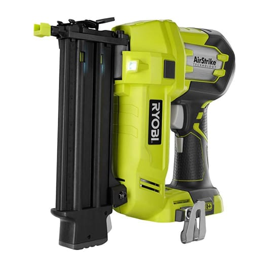 RYOBI 18-Volt ONE+ Cordless AirStrike 18-Gauge Brad Nailer (Tool Only) with Sample Nails