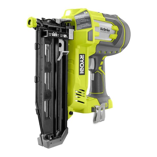 RYOBI 18-Volt ONE+ Lithium-Ion Cordless AirStrike 16-Gauge Cordless Straight Finish Nailer (Tool Only) with Sample Nails