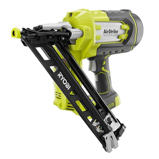 RYOBI 18-Volt ONE+ Lithium-Ion Cordless AirStrike 15-Gauge Angled Finish Nailer (Tool Only) with Sample Nails