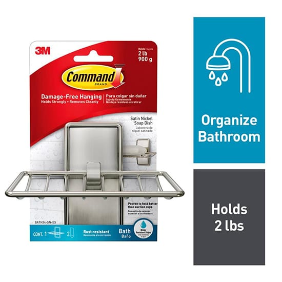 Command Satin Nickel Soap Dish (1-Soap Dish) (2-Water Resistant Strips)