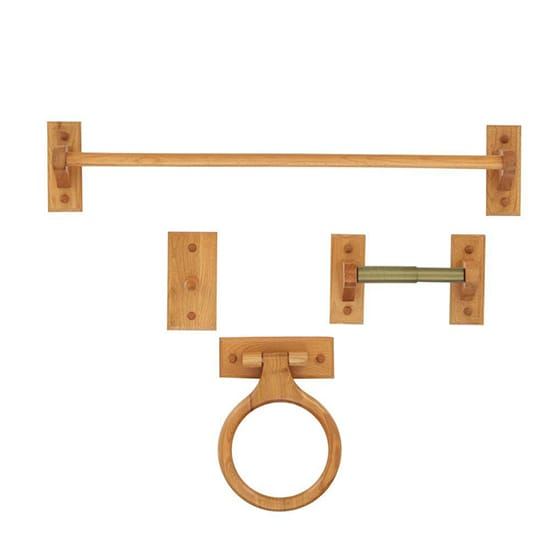 Glacier Bay 4-Piece Bath Hardware Kit in Oak