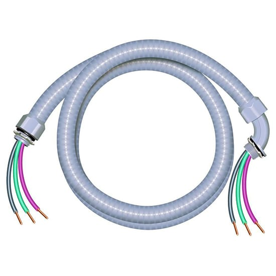 Southwire 1/2 in. x 6 ft. 10/3 Ultra-Whip Liquidtight Flexible Non-Metallic PVC Conduit Cable Whip