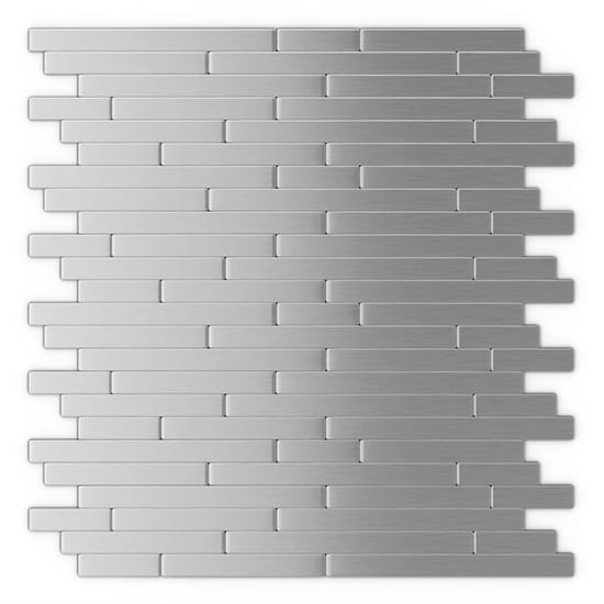 Inoxia SpeedTiles Linox Stainless Steel 12.09 in. x 11.97 in. x 5 mm Brushed Metal Self-Adhesive Wall Mosaic Tiles