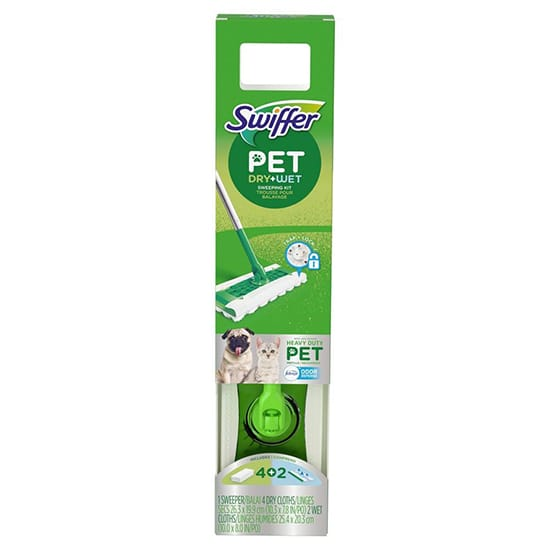 Swiffer Heavy Duty Pet Wet\Dry Floor Mopping Cleaning Starter Kit (1 Mop and 4 pads)