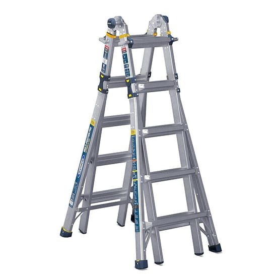 22 ft. Reach Aluminum 5-in-1 Multi-Position Pro Ladder with Powerlite Rails 375 lbs. Load Capacity Type IAA Duty Rating