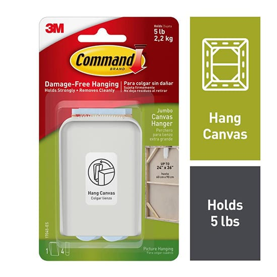 Command White Jumbo Canvas Picture Hanger (1-Hanger) (4-Adhesive Strips)