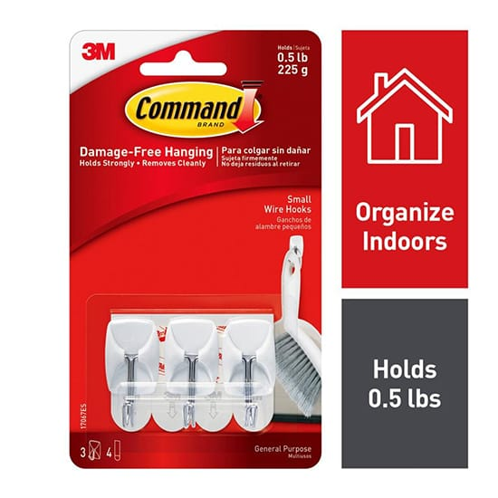 Command Small Wire Hooks (3-Hooks, 4-Strips)