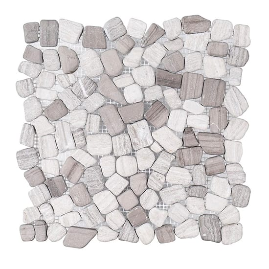 Jeffrey Court Bailey Grey Pebble 12 in. x 12 in. x 10 mm Honed Marble Stone Mosaic Wall/Floor Tile