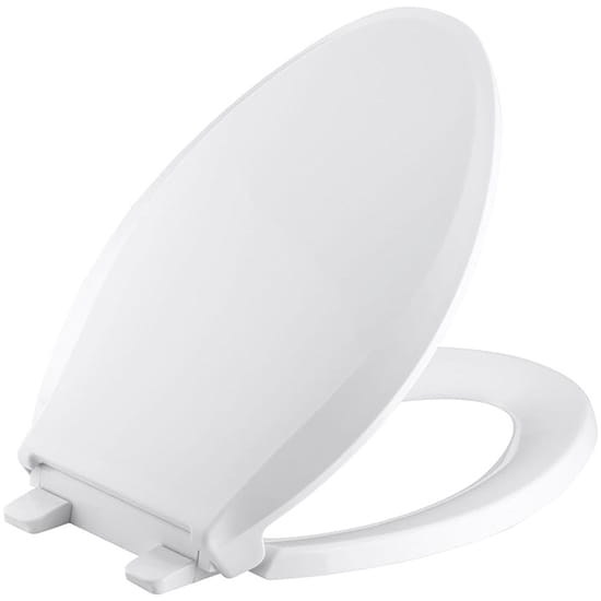 KOHLER Cachet Quiet-Close Elongated Closed Front Toilet Seat with Grip-Tight Bumpers in White
