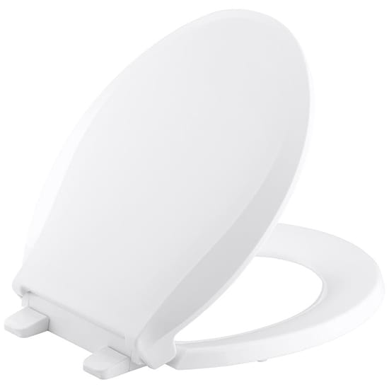 KOHLER Cachet Quiet-Close Round Closed Front Toilet Seat with Grip-Tight Bumpers in White
