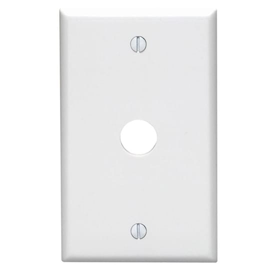 Leviton 1-Gang 0.625 in. Hole Device Telephone/Cable Wall Plate, White