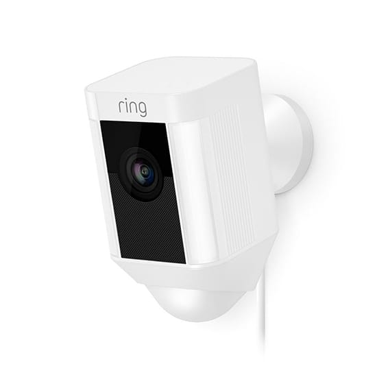 Ring Spotlight Cam Wired Outdoor Rectangle Security Camera, White
