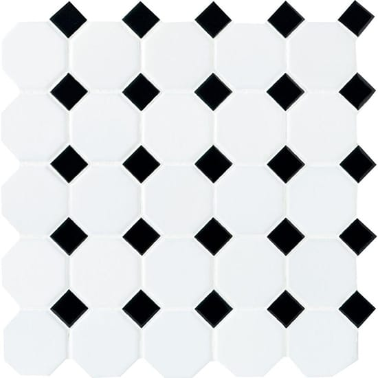 Daltile Octagon and Dot Matte White with Black Dot 12 in. x 12 in. x 6 mm Ceramic Mosaic Floor and Wall Tile (1 sq. ft./ piece)