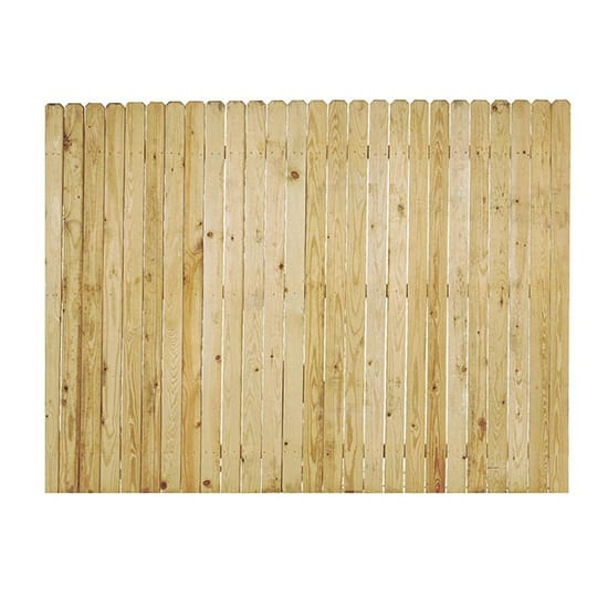 6 ft. x 8 ft. Pressure-Treated Pine Stockade Dog-Ear Fence Panel with 2x4 Rails