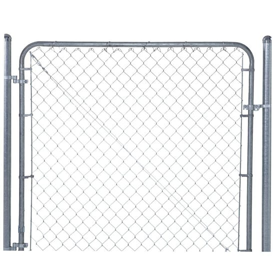 YARDGARD 6 ft. W x 4 ft. H Galvanized Metal Adjustable Single Walk-Through Chain Link Fence Gate