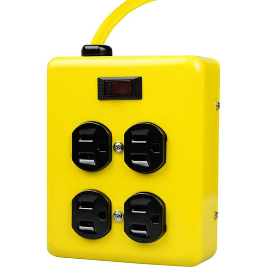 Yellow Jacket 4 ft. 4-Outlet Metal Heavy-Duty Power Block with On/Off Switch