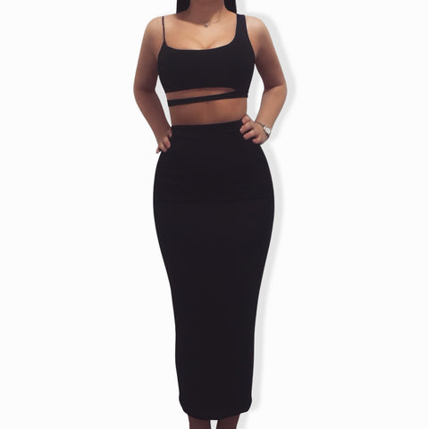 Trinity Skirt Set - Crop Top & Double Layered Midi Skirt