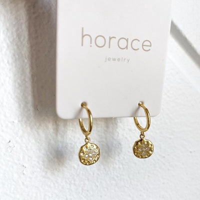 DIO GOLD PENDANT EARRINGS